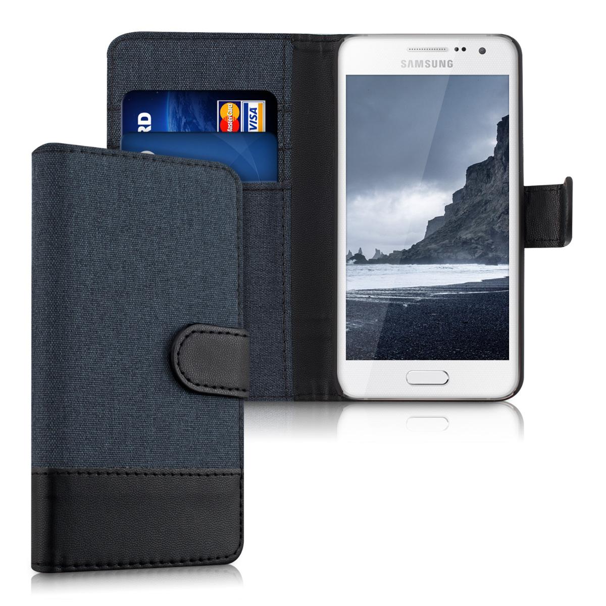 Fabricpouzdro pro Samsung A3 (2015) - tmavě modré / černé