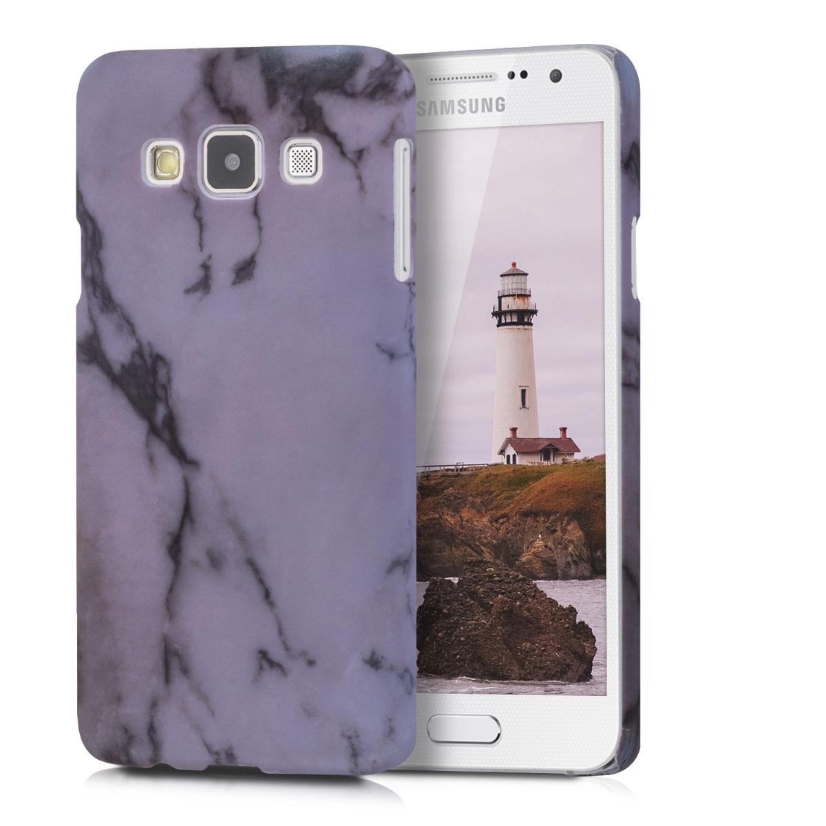 Kvalitní plastové pouzdro pro Samsung A3 (2015) - Marble bílé / černé