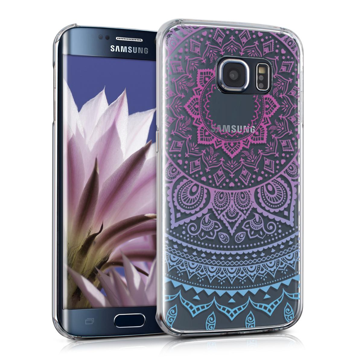 Kvalitní plastové pouzdro pro Samsung S6 Edge - indické slunce modré / tmavě růžová / transparentní