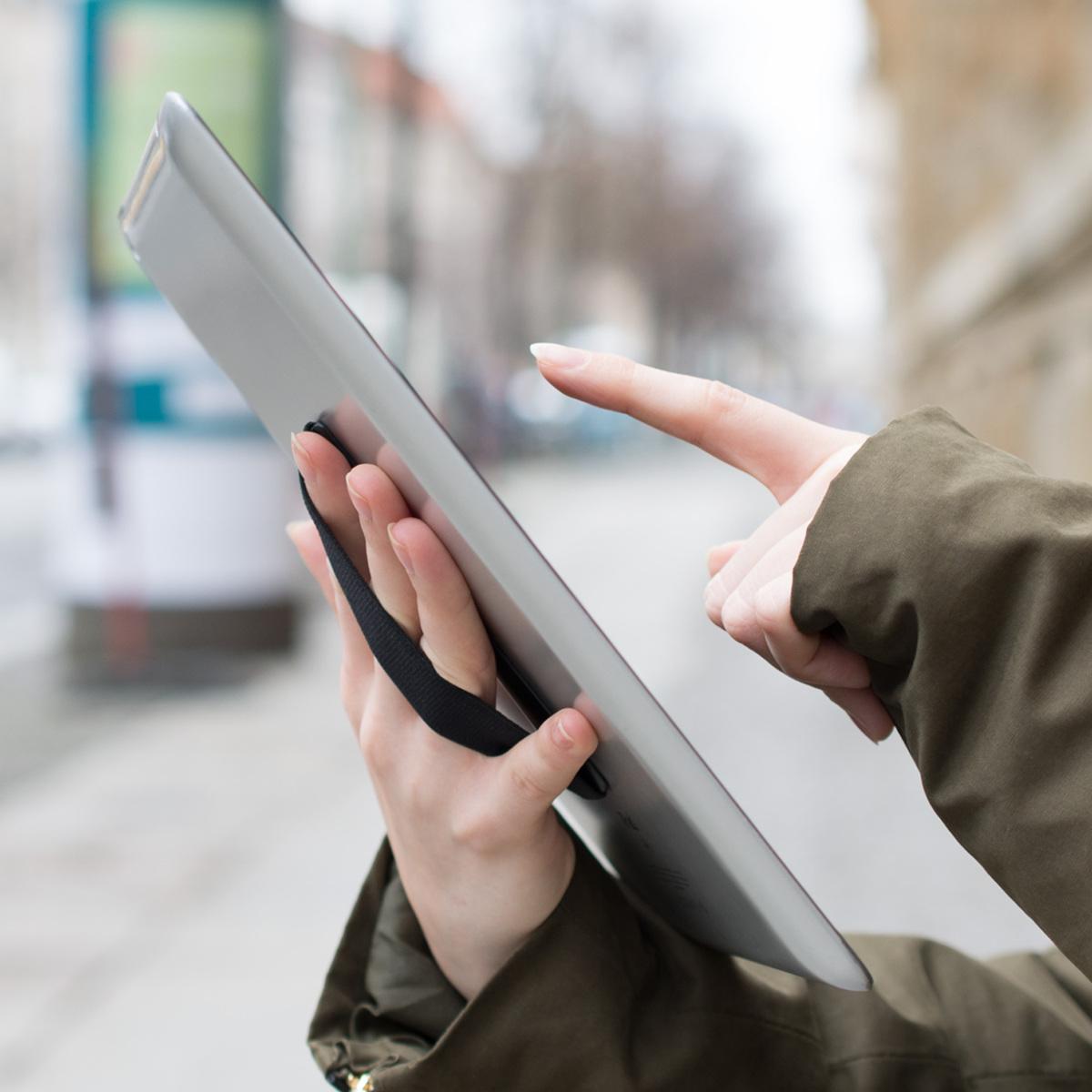 Support-autoadhesif-tablette-Accessoire-universel-main-tablettes-Noir miniature 3