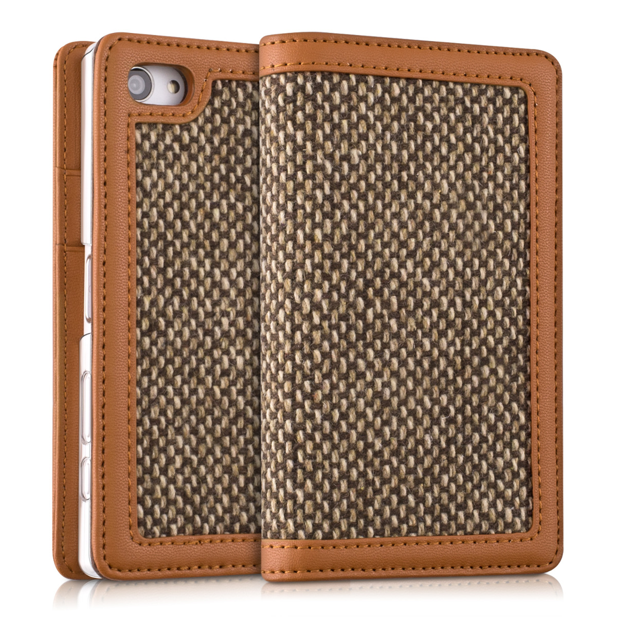 HÜLLE WALLET KUNSTLEDER STYLE DONNA FÜR SONY XPERIA Z5 COMPACT COVER FLIP TWEED