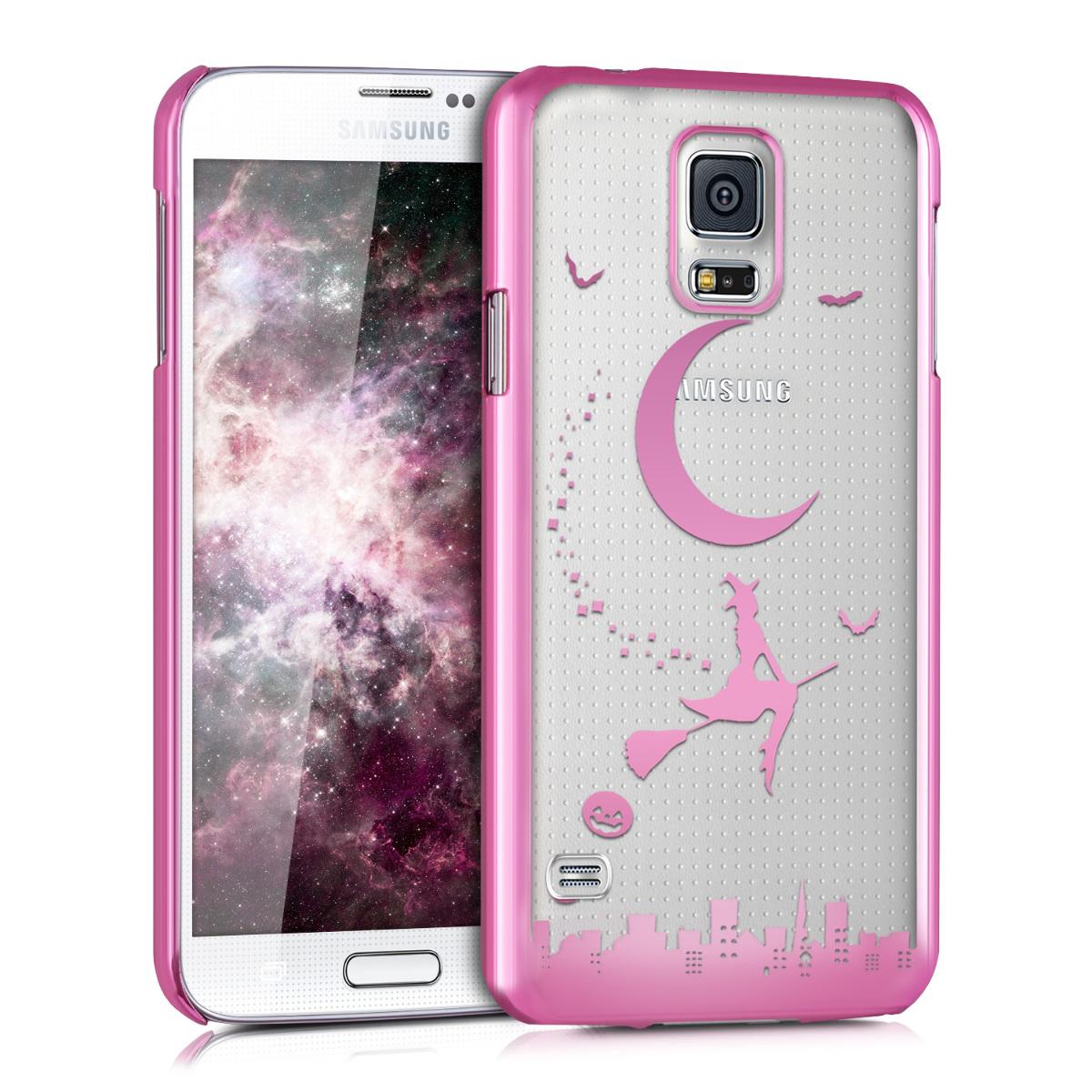 Kvalitní silikonové TPU pouzdro pro Samsung S5 | S5 Neo - Witch tmavě růžová / transparentní