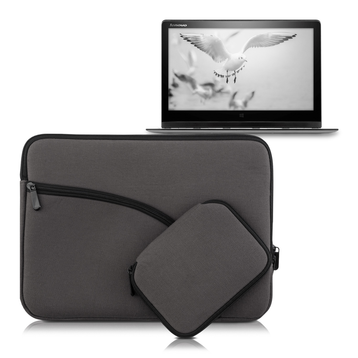 kwmobile housse pour 12 5 13 13 3 laptop ultrabook anthracite cover poche en ebay. Black Bedroom Furniture Sets. Home Design Ideas