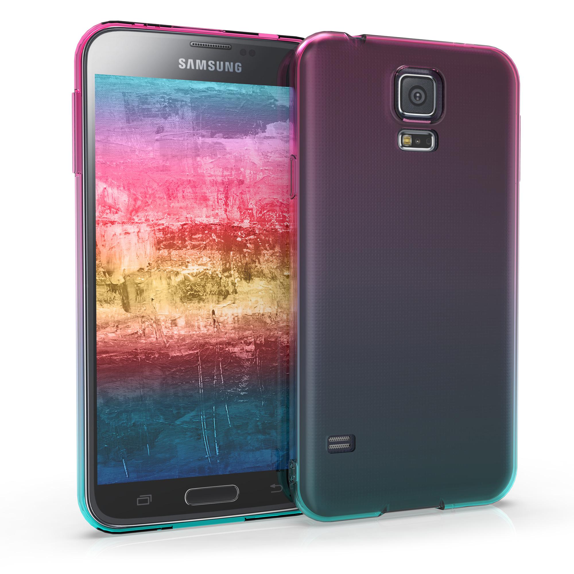 Kvalitní silikonové TPU pouzdro pro Samsung S5 | S5 Neo - Bicolor tmavě růžová / modré matný