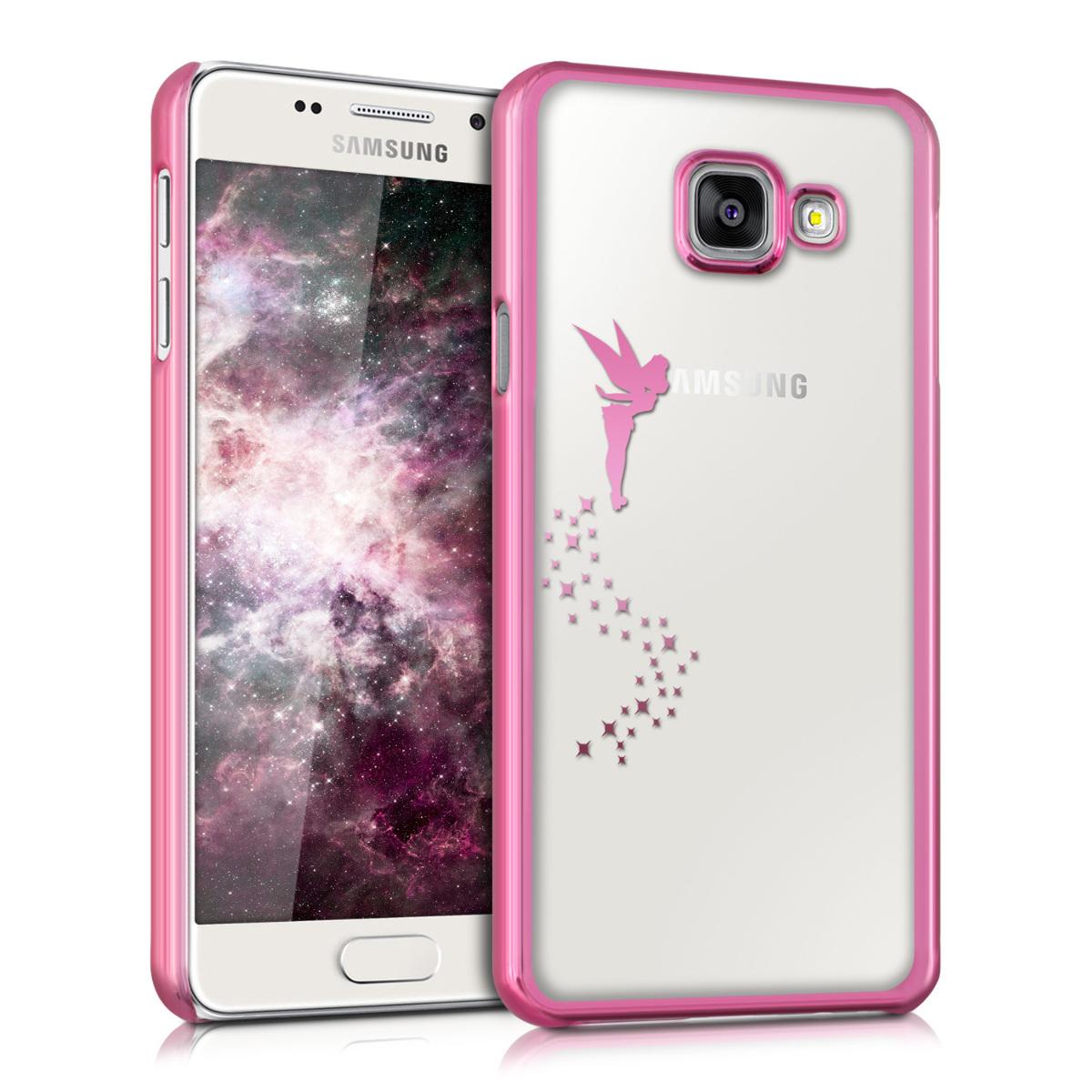 Kvalitní silikonové TPU pouzdro pro Samsung A3 (2016) - Víla tmavě růžové / transparentní