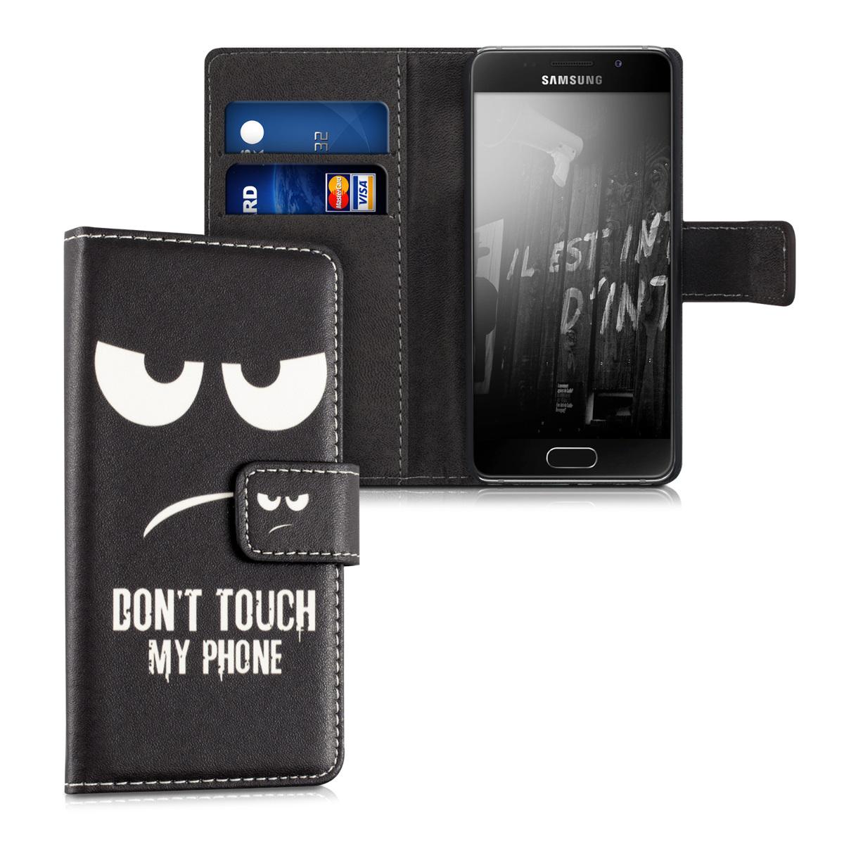 Kožené pouzdro pro Samsung A3 (2016) - Nedotýkejte My Phone bílé / černé