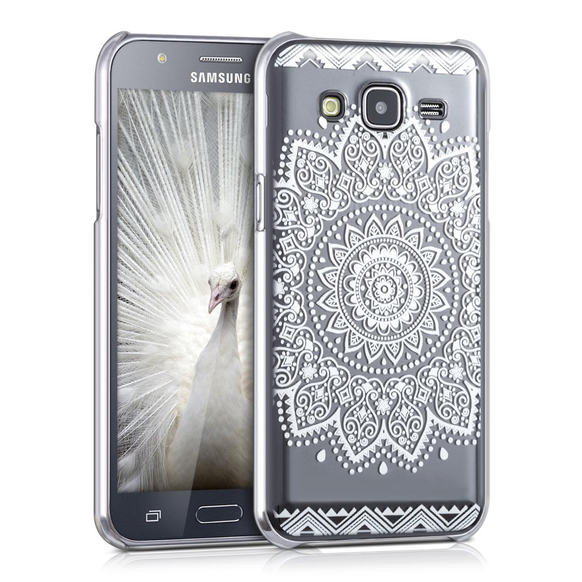 Kvalitní plastové pouzdro pro Samsung J5 (2015) - květiny bílé / transparentní