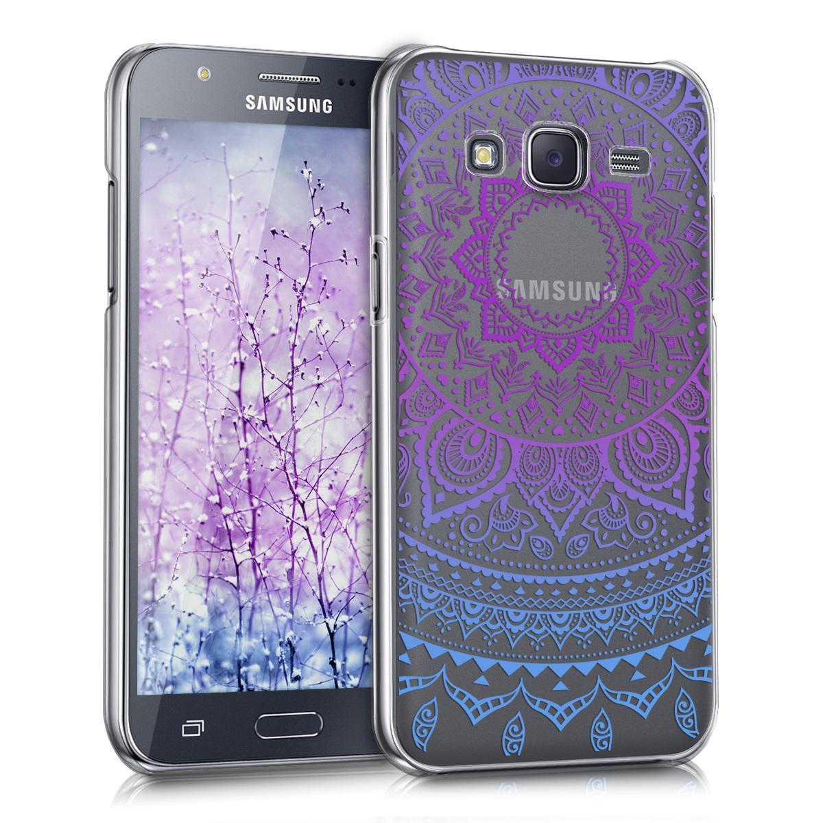 Kvalitní plastové pouzdro pro Samsung J5 (2015) - indické slunce modré / tmavě růžová / transparentní