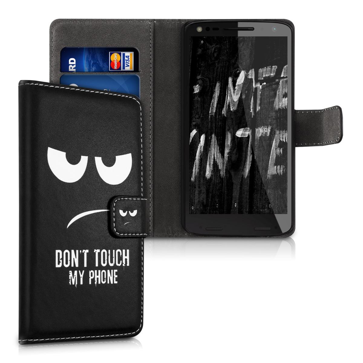 Kožené pouzdro | obal pro Motorola Moto X Force - Nedotýkej se mého telefonu Bílá / Černá