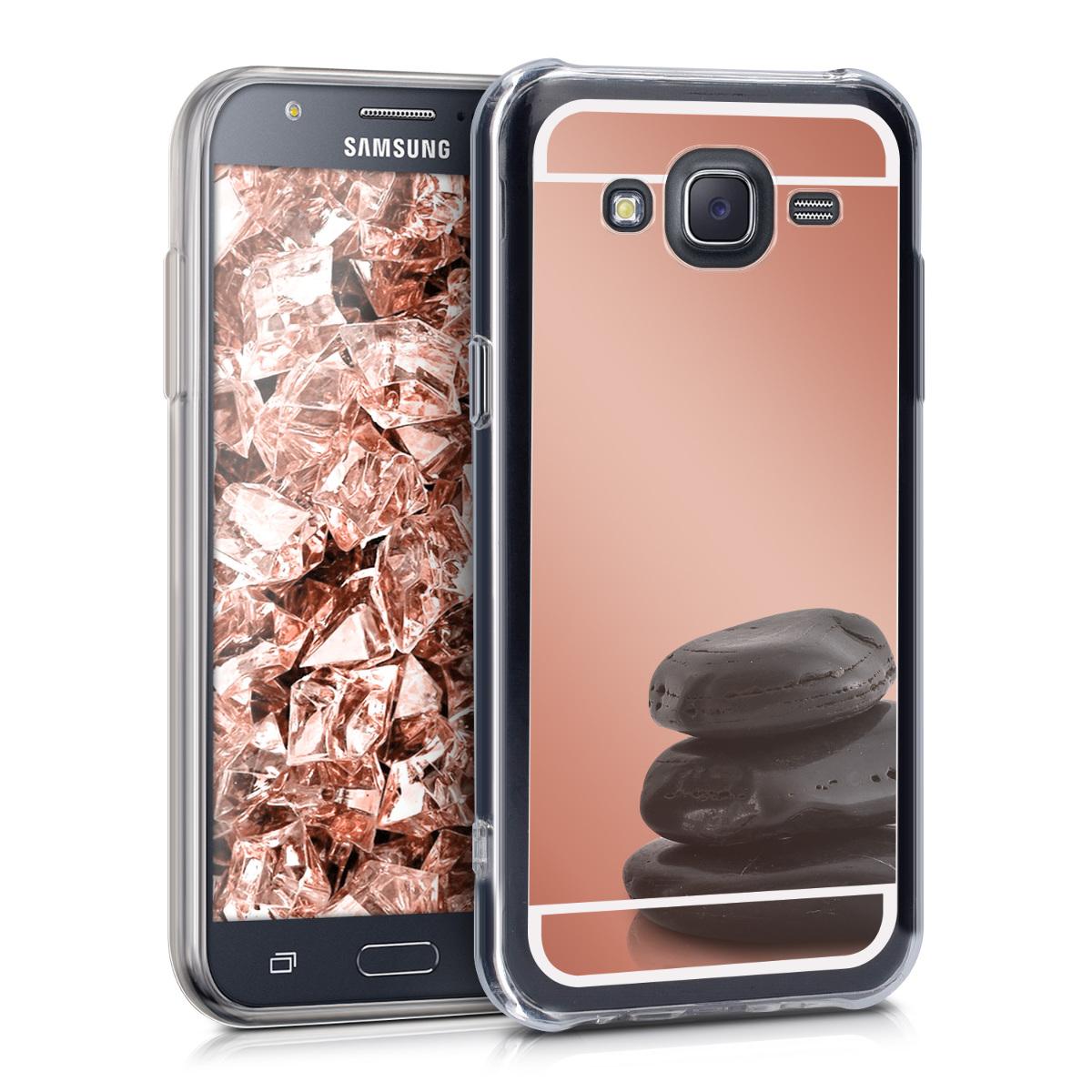 Kvalitní silikonové TPU pouzdro pro Samsung J5 (2015) - starorůžové rosegold Reflective