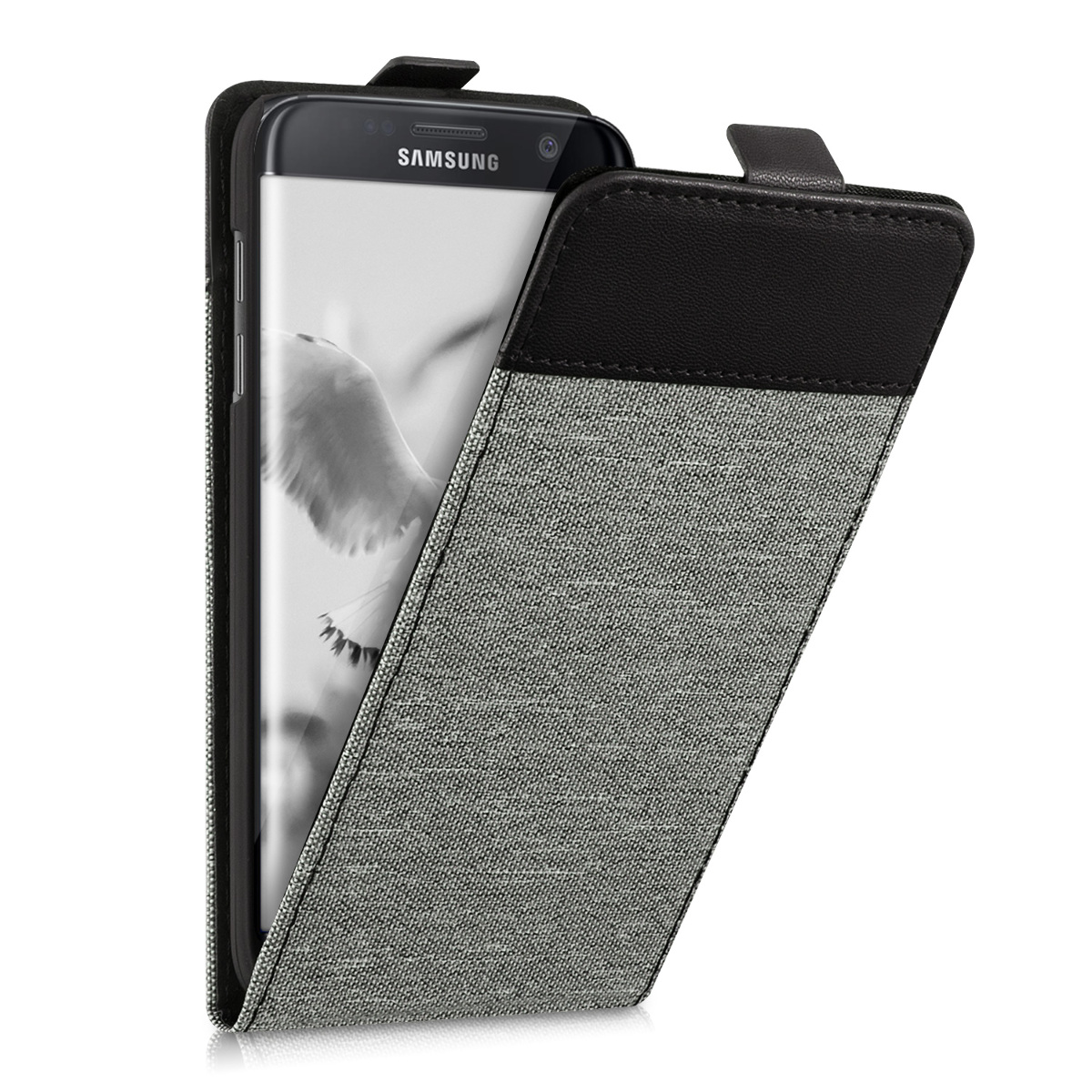 kwmobile-CUSTODIA-FLIP-STYLE-PER-SAMSUNG-GALAXY-S7-EDGE-TESSUTO-CANVAS-COVER