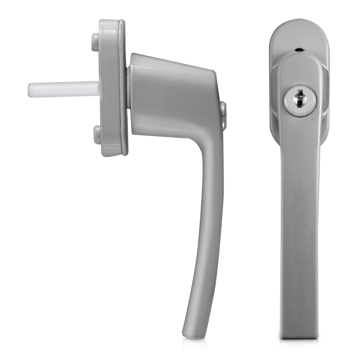 kwmobile 4x aluminium fenstergriff mit schloss silber abschlie bar ebay. Black Bedroom Furniture Sets. Home Design Ideas