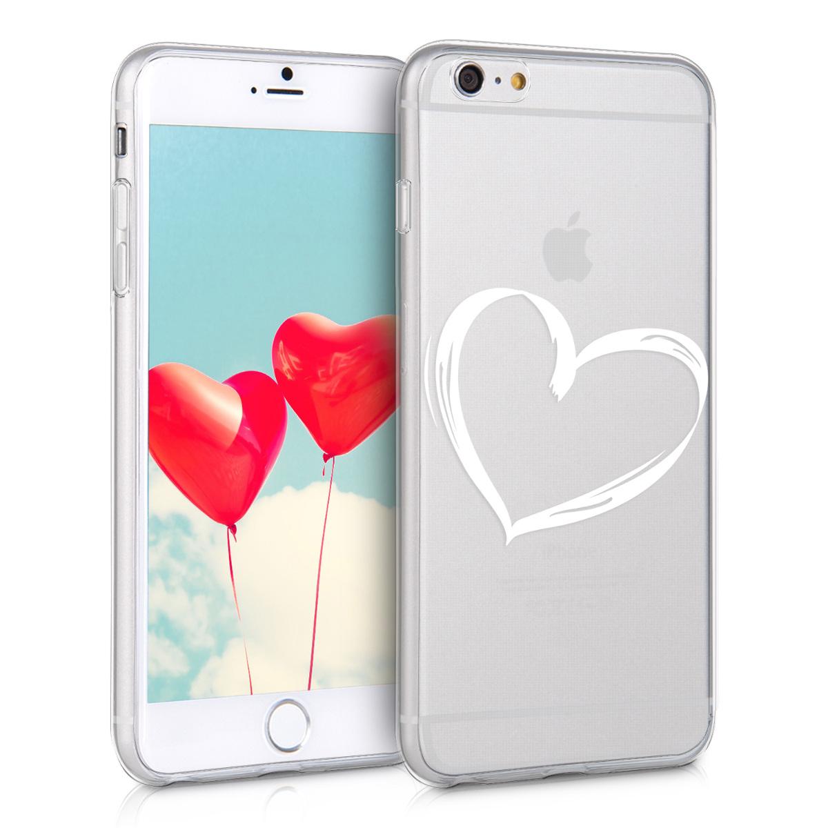 Kvalitní silikonové TPU pouzdro pro Apple iPhone 6 Plus / 6S - Brushed Heart White | Transparent