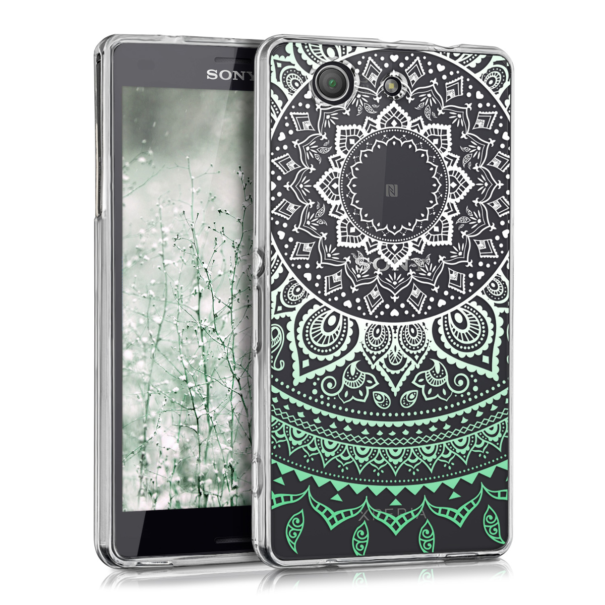 Kvalitní silikonové TPU pouzdro | obal pro Sony Xperia Z3 Compact - indické slunce mint zelené / bílé / průhledné