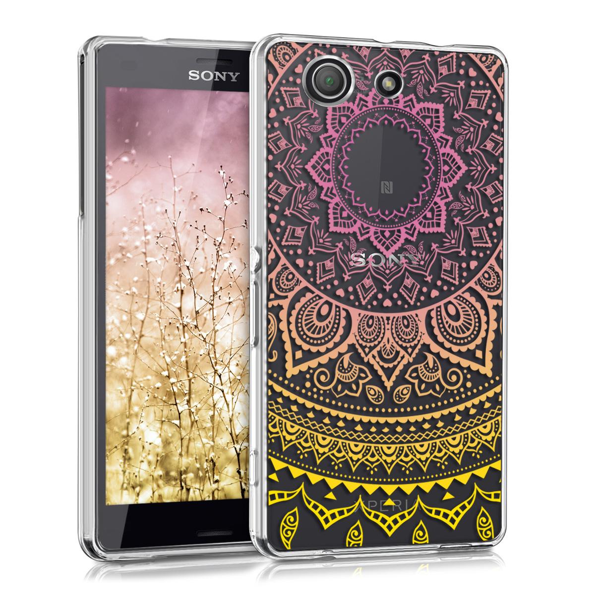 Kvalitní silikonové TPU pouzdro | obal pro Sony Xperia Z3 Compact - indické slunce žluté / tmavě růžová / průhledné