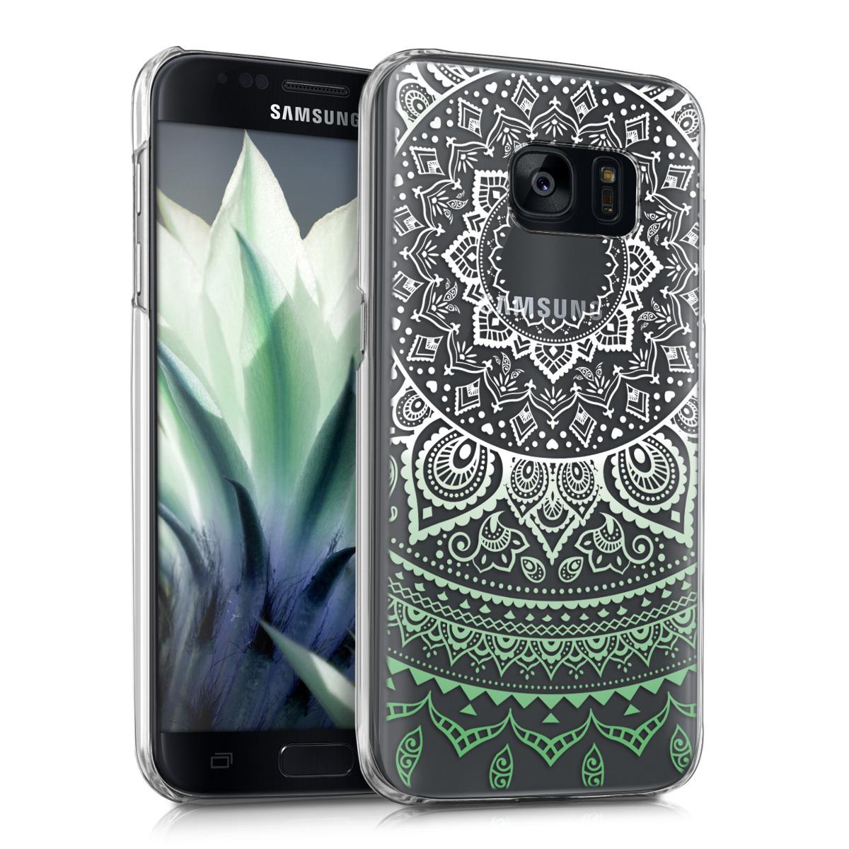 Kvalitní plastové pouzdro pro Samsung S7 - indické slunce mint zelené / bílé / transparentní