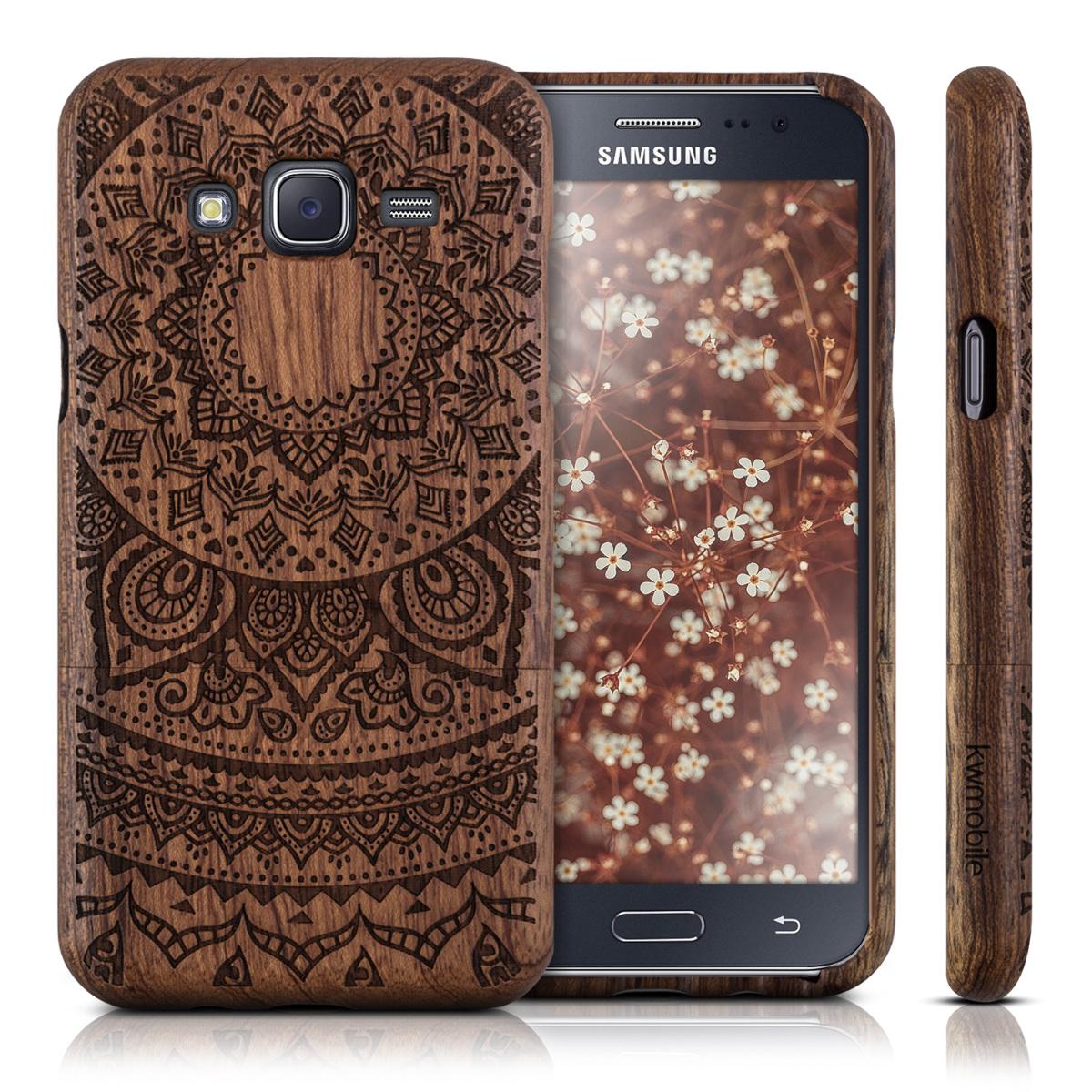 kwmobile wood cover for samsung galaxy j5 2015 case back hard natural mobile ebay. Black Bedroom Furniture Sets. Home Design Ideas