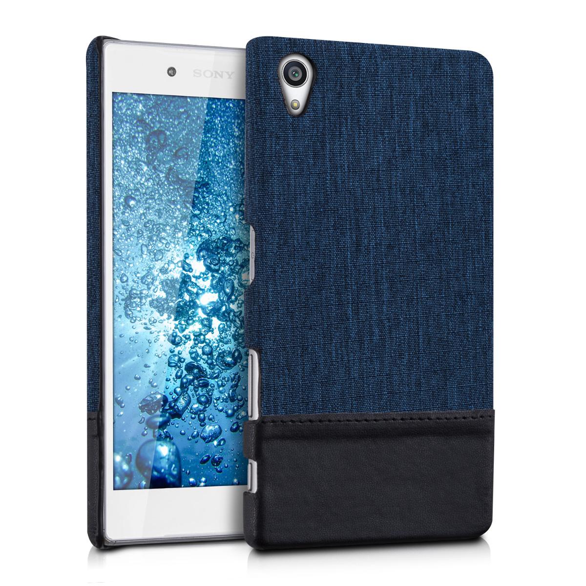 Textilní látkové pouzdro | obal pro Sony Xperia Z5 - tmavé modré / černé