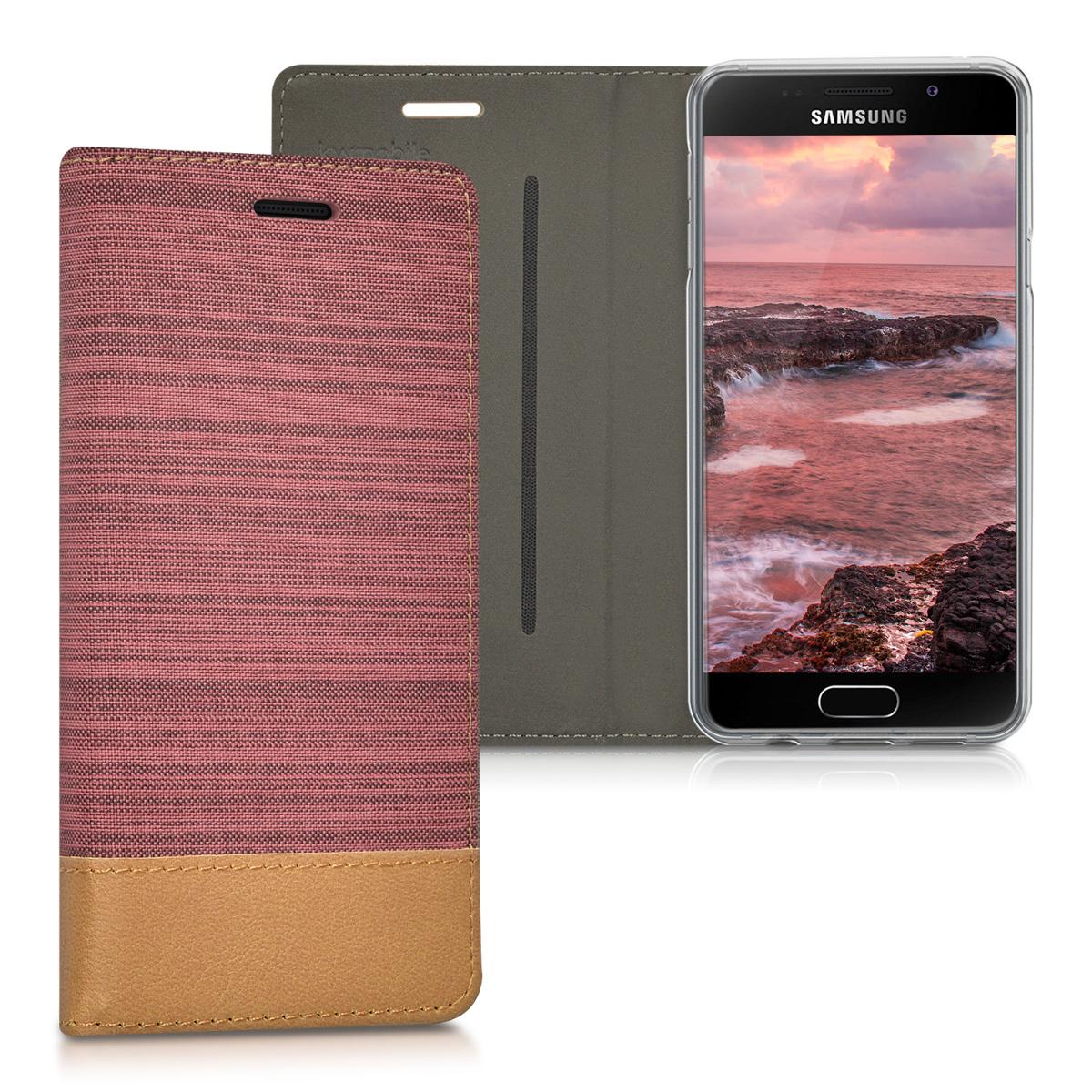 Fabricpouzdro pro Samsung A3 (2016) - Dusty růžové / Brown