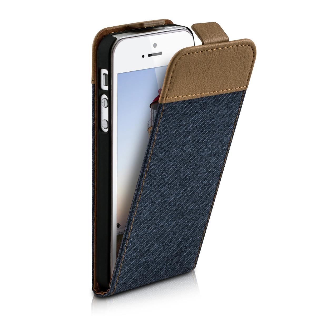 kwmobile-FLIP-CASE-HOUSSE-POUR-APPLE-IPHONE-SE-5-5S-TOILE-CANVAS-COVER