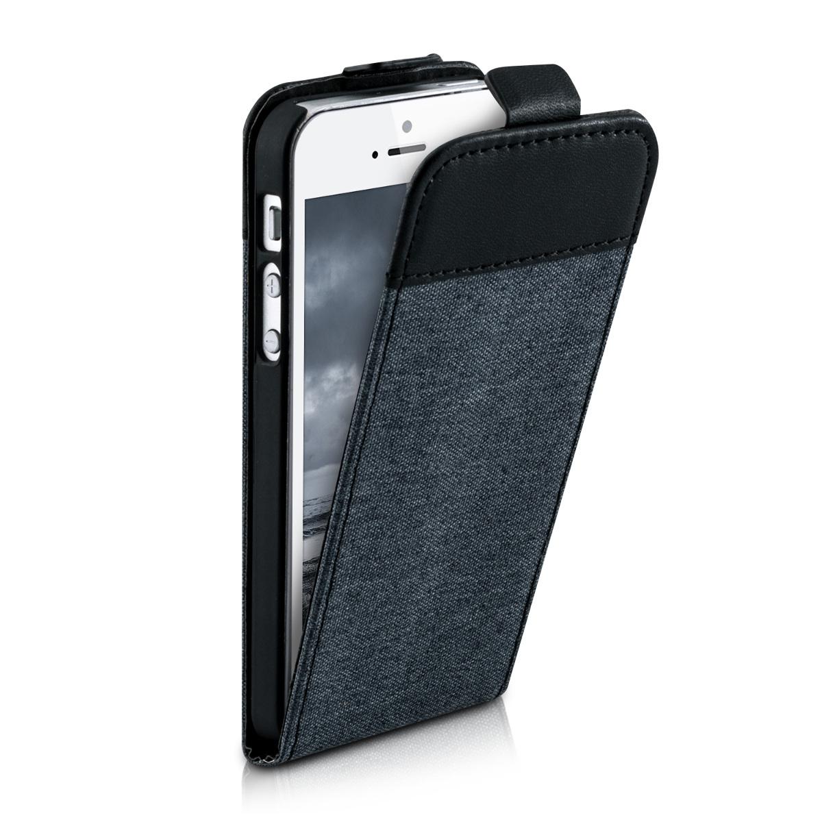 FLIP-CASE-HOUSSE-POUR-APPLE-IPHONE-SE-5-5S-TOILE-CANVAS-COVER-SMARTPHONE-ETUI