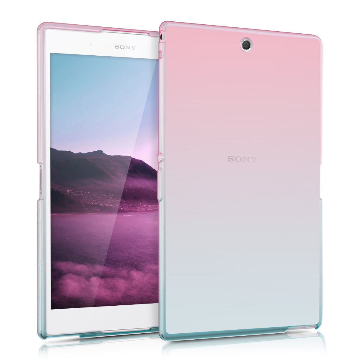 Kvalitní silikonové TPU pouzdro | obal pro Sony Xperia Tablet Z3 Compact - Bicolor tmavě růžová / modré / průhledné / průhledné