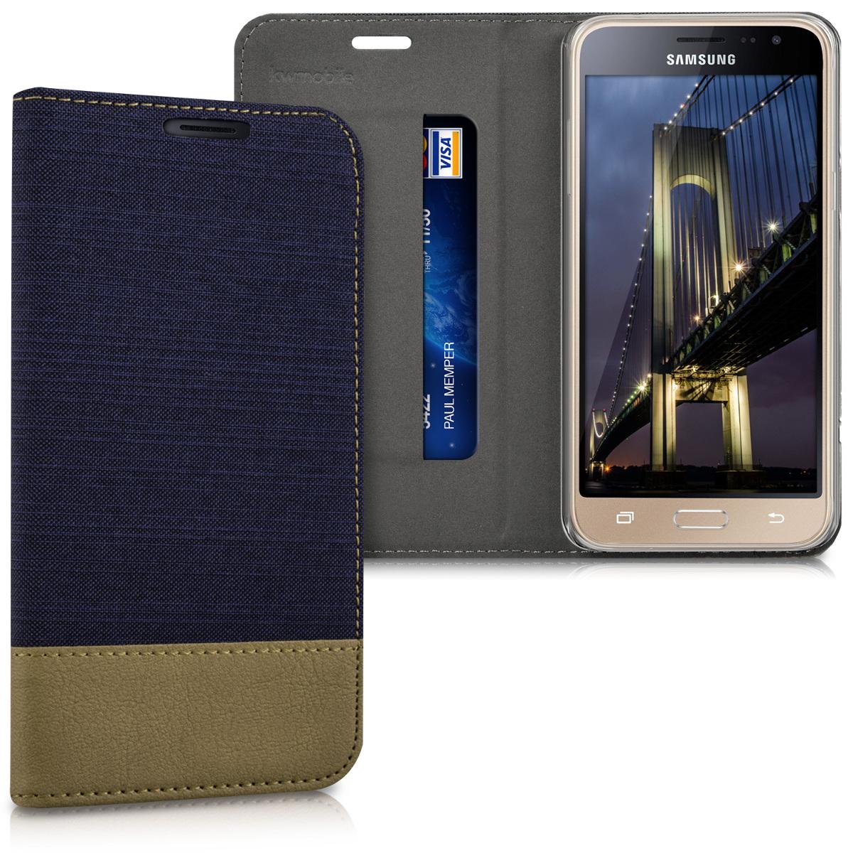 Fabricpouzdro pro Samsung J3 (2016) DUOS - tmavě modré / Brown