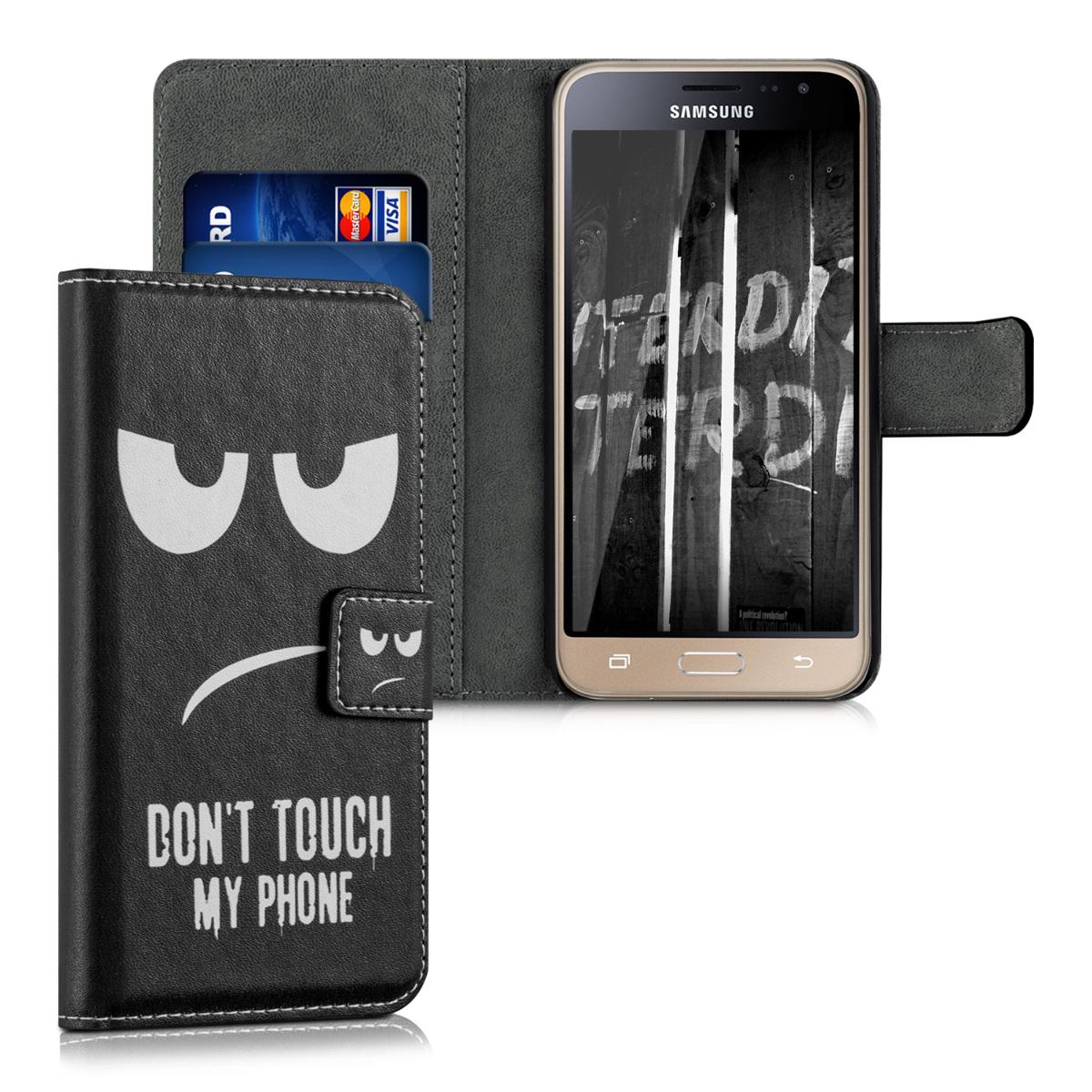 Kožené pouzdro pro Samsung J3 (2016) DUOS - Nedotýkejte My Phone bílé / černé