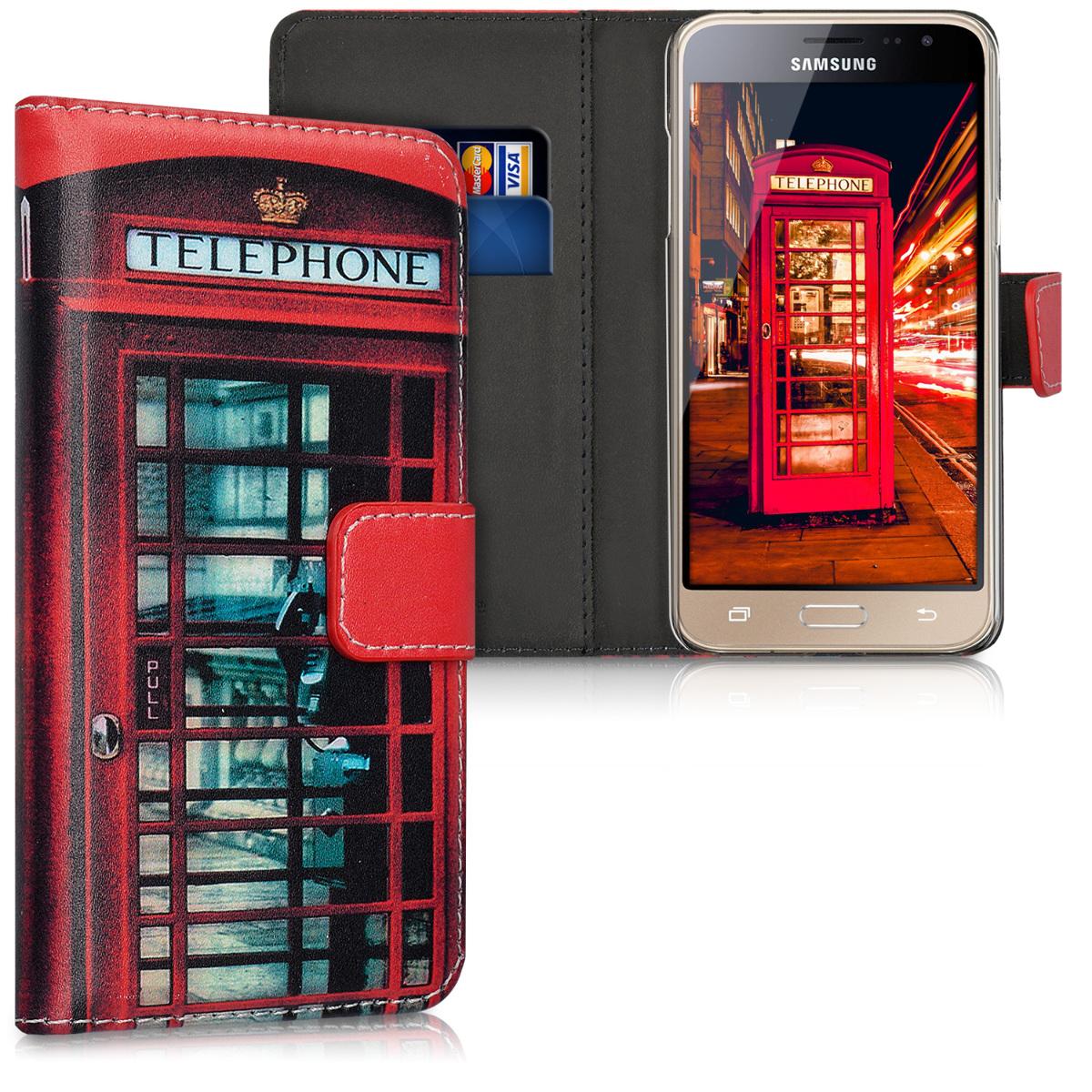 Kožené pouzdro pro Samsung J3 (2016) DUOS - London Telefonní budka červená / černé / bílá