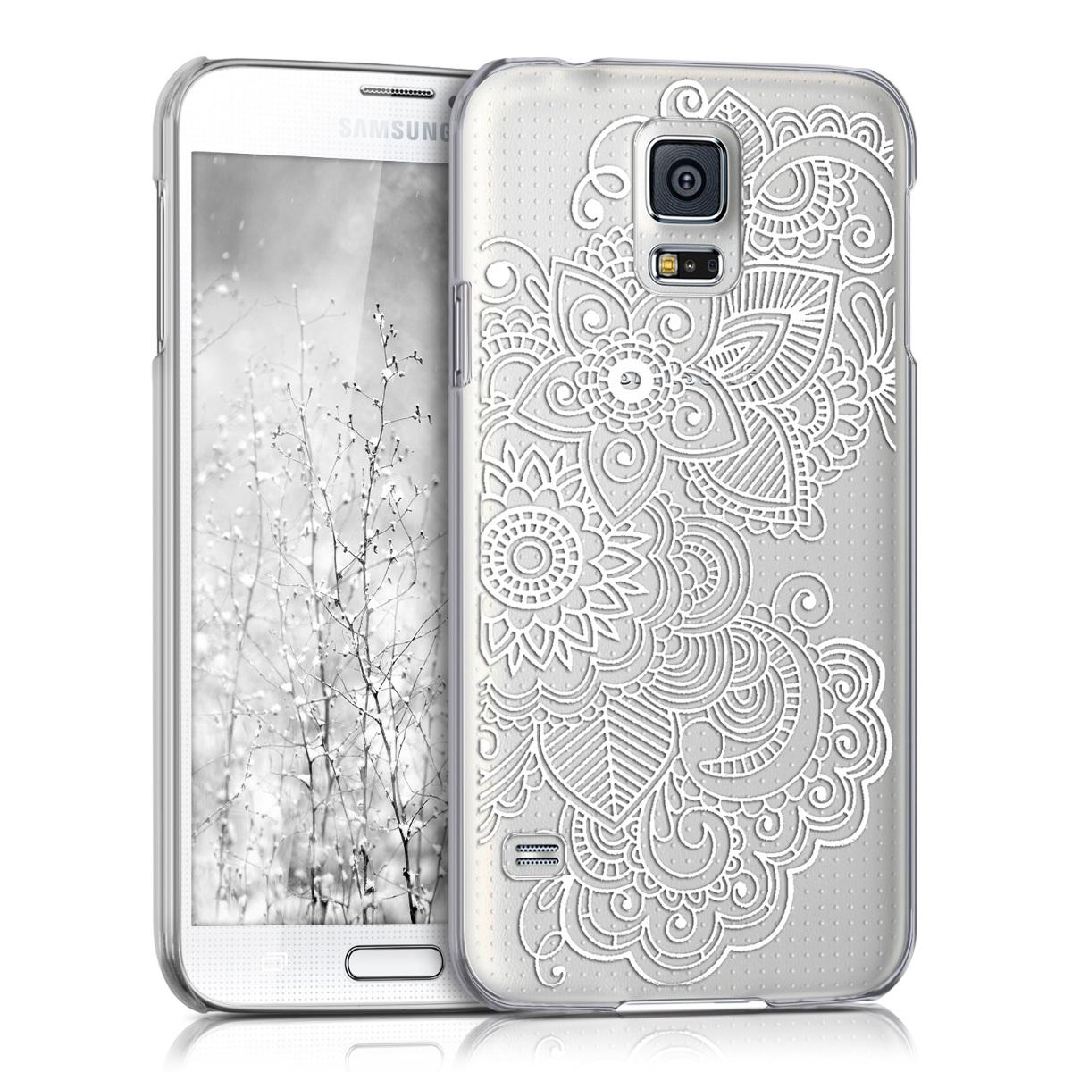 Kvalitní plastové pouzdro pro Samsung S5 | S5 Neo - Etno-květiny bílé / transparentní