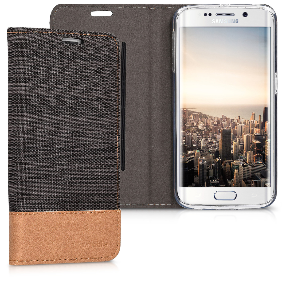 Fabricpouzdro pro Samsung S6 Edge - Antracit / Brown
