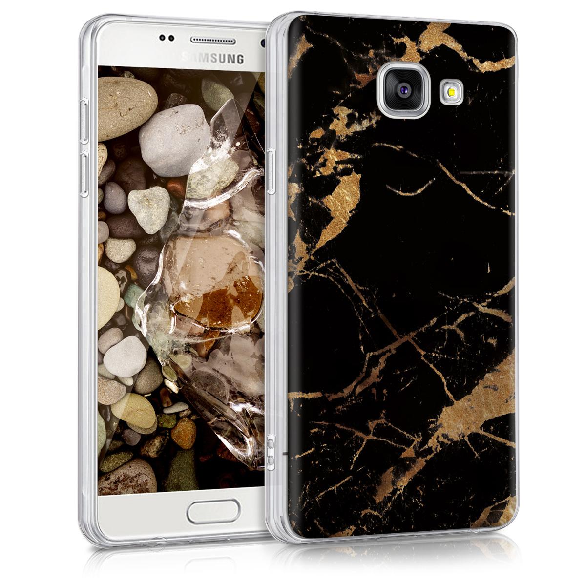 Kvalitní silikonové TPU pouzdro pro Samsung A5 (2016) - Marble černé / Gold