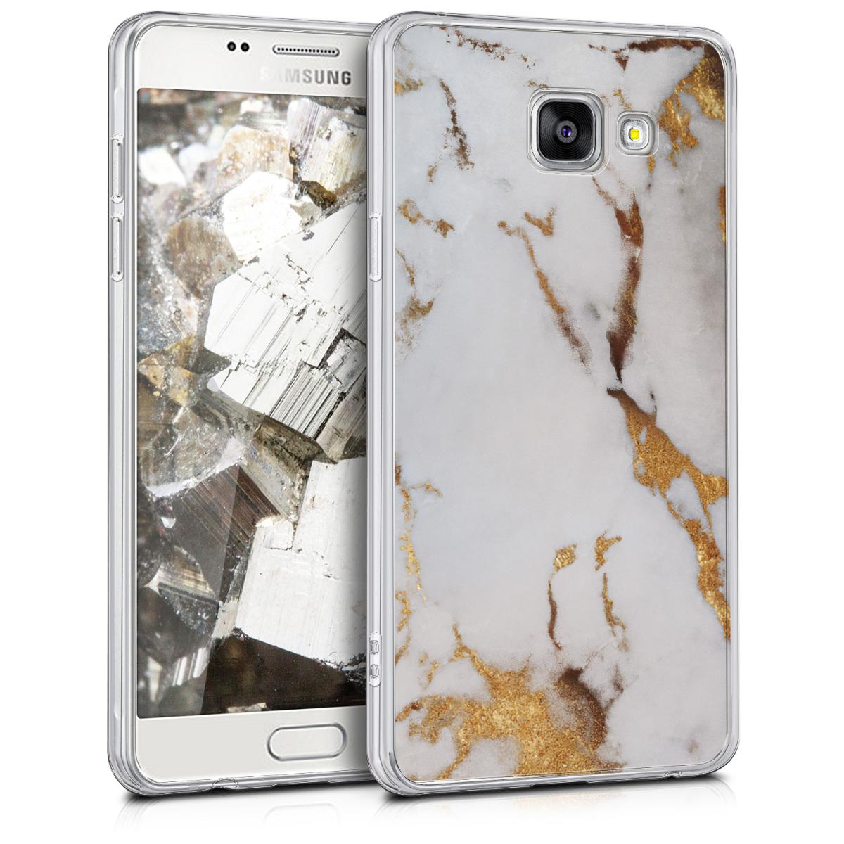 Kvalitní silikonové TPU pouzdro pro Samsung A5 (2016) - Marble bílé / Gold