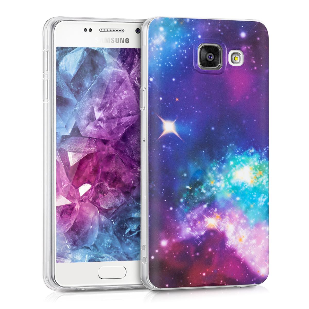 Kvalitní silikonové TPU pouzdro pro Samsung A3 (2016) - Outer Space Multicolor / tmavě růžová / černé