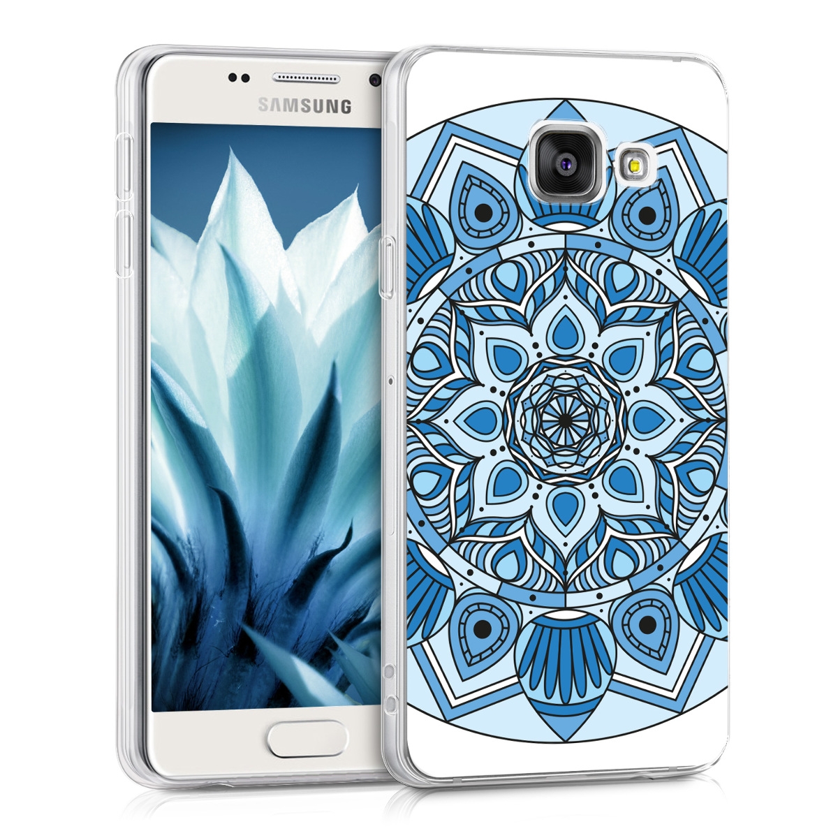 Kvalitní silikonové TPU pouzdro pro Samsung A3 (2016) - Mandala květ modré / světle  modré / bílé