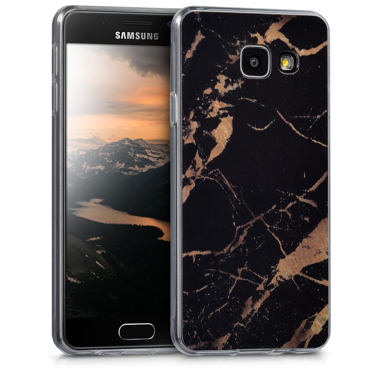 Kvalitní silikonové TPU pouzdro pro Samsung A3 (2016) - Marble černé / Gold
