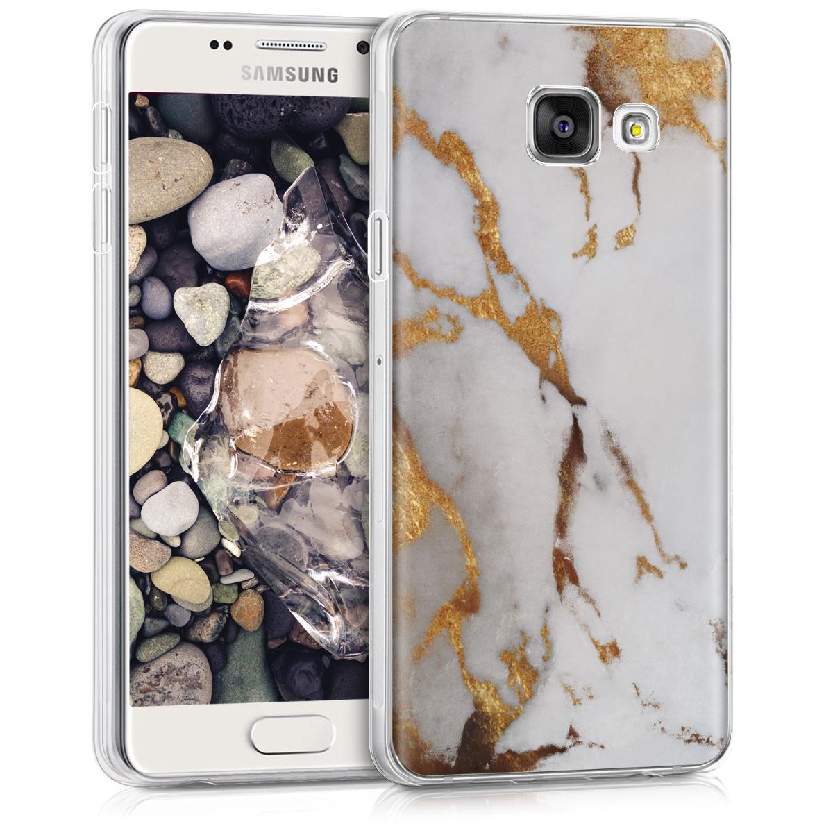 Kvalitní silikonové TPU pouzdro pro Samsung A3 (2016) - Marble bílé / Gold