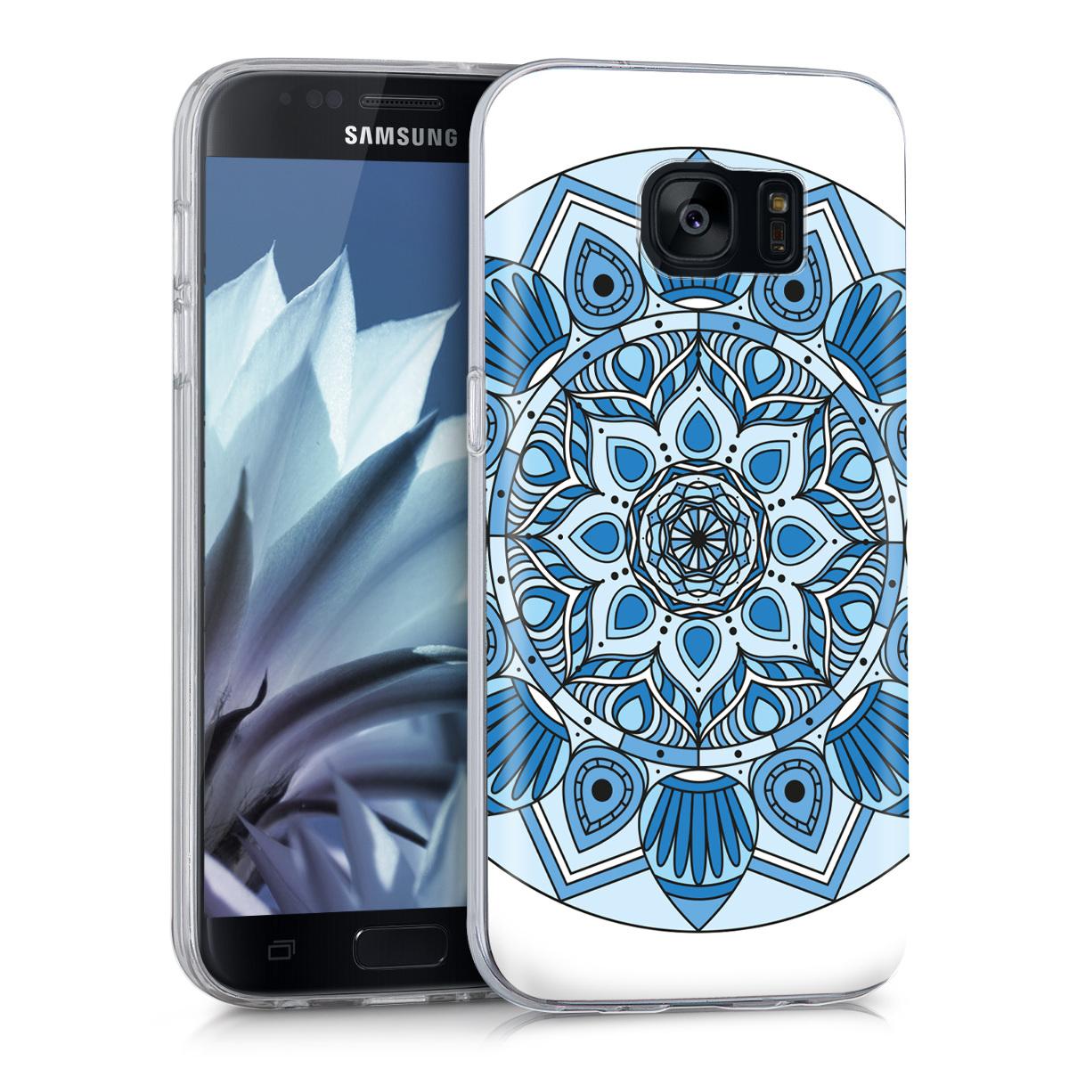 Kvalitní silikonové TPU pouzdro pro Samsung S7 - Mandala květ modré / světle  modré / bílé