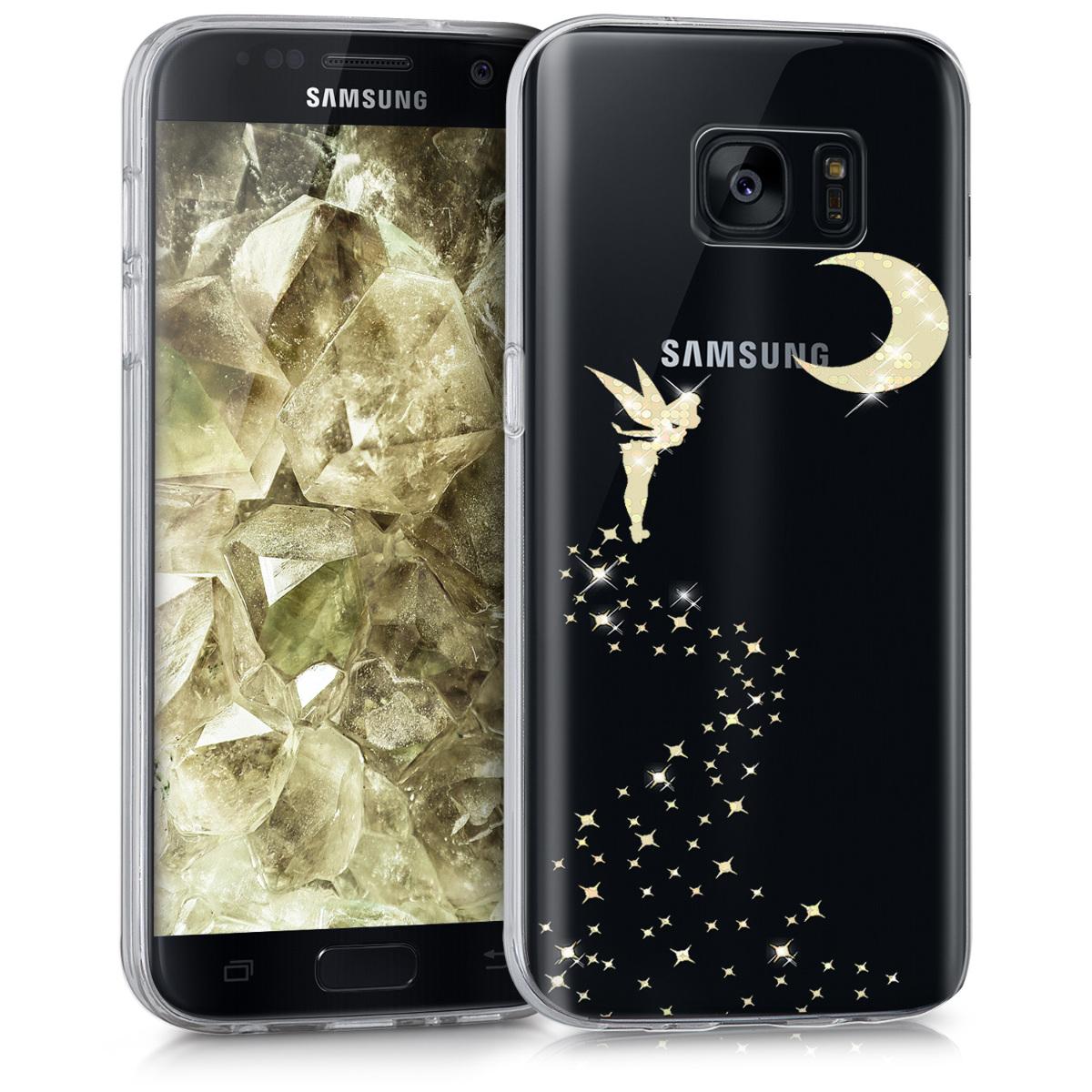 Kvalitní silikonové TPU pouzdro pro Samsung S7 - Třpytivé víla Gold / transparentní
