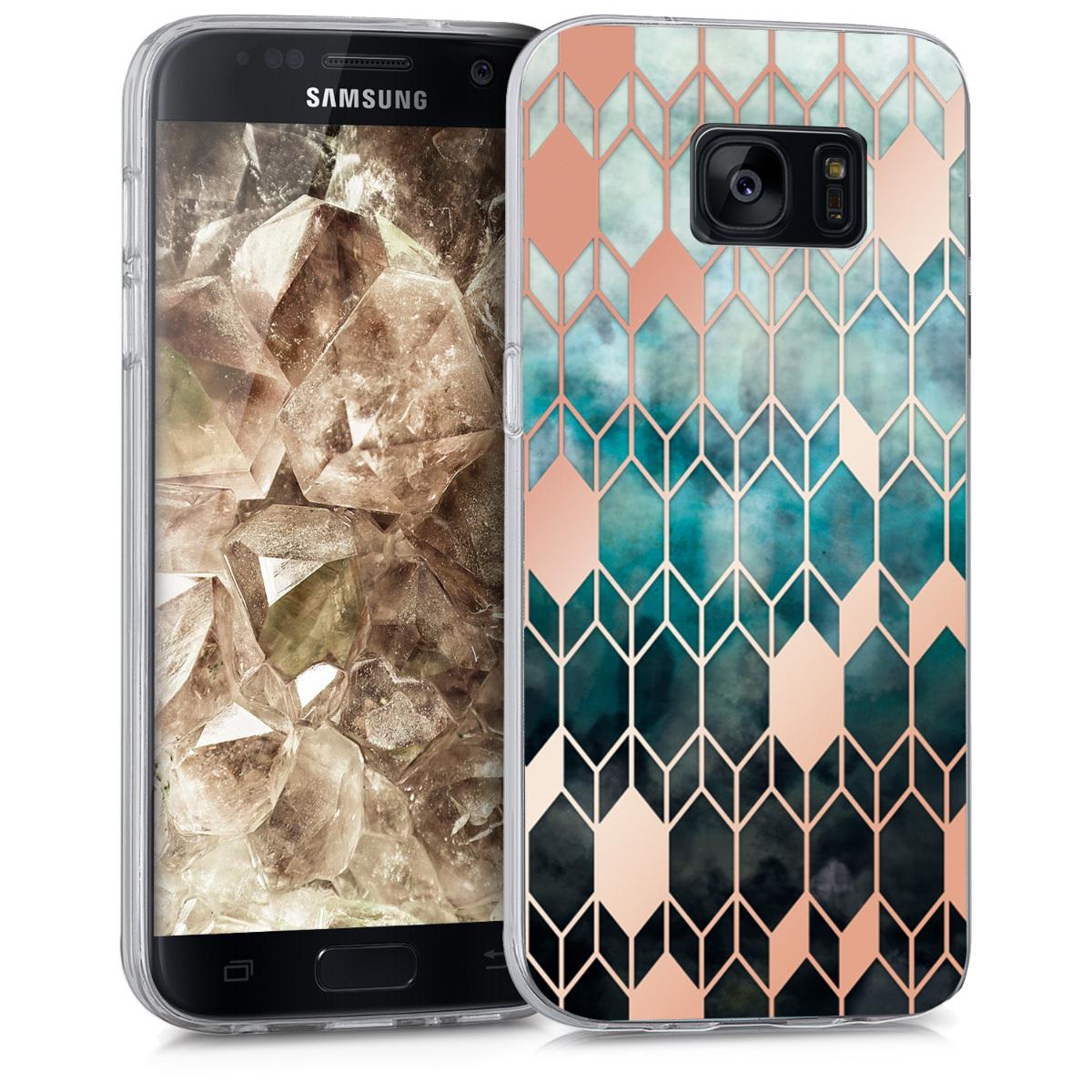 Kvalitní silikonové TPU pouzdro pro Samsung S7 - Glory modré / starorůžové rosegold