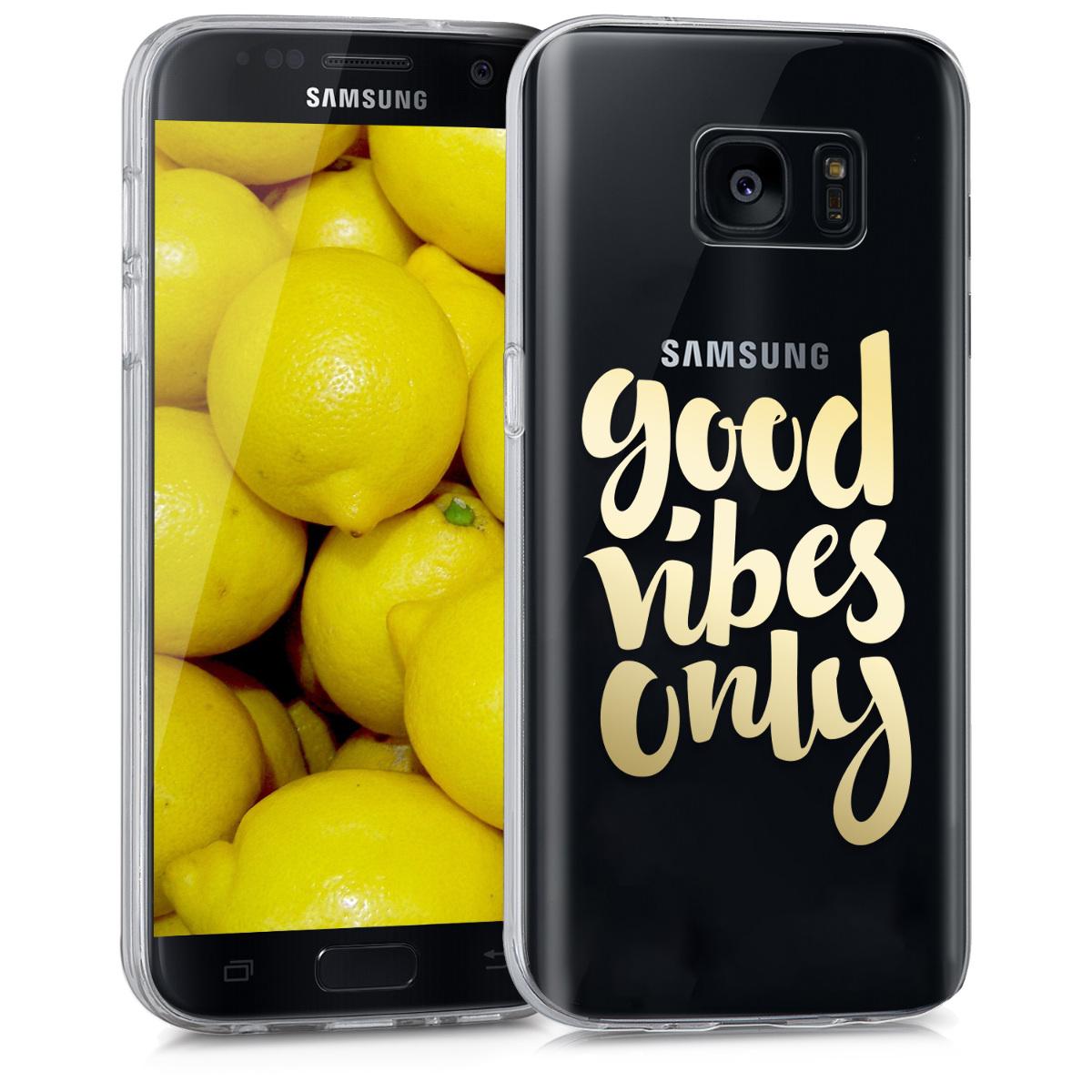 Kvalitní silikonové TPU pouzdro pro Samsung S7 - Good Vibes fráze Gold / transparentní