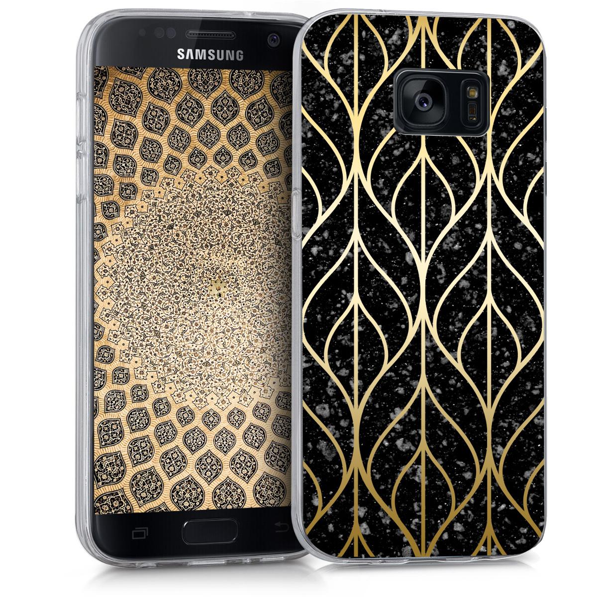 Kvalitní silikonové TPU pouzdro pro Samsung S7 - Listová Mix Gold / černé