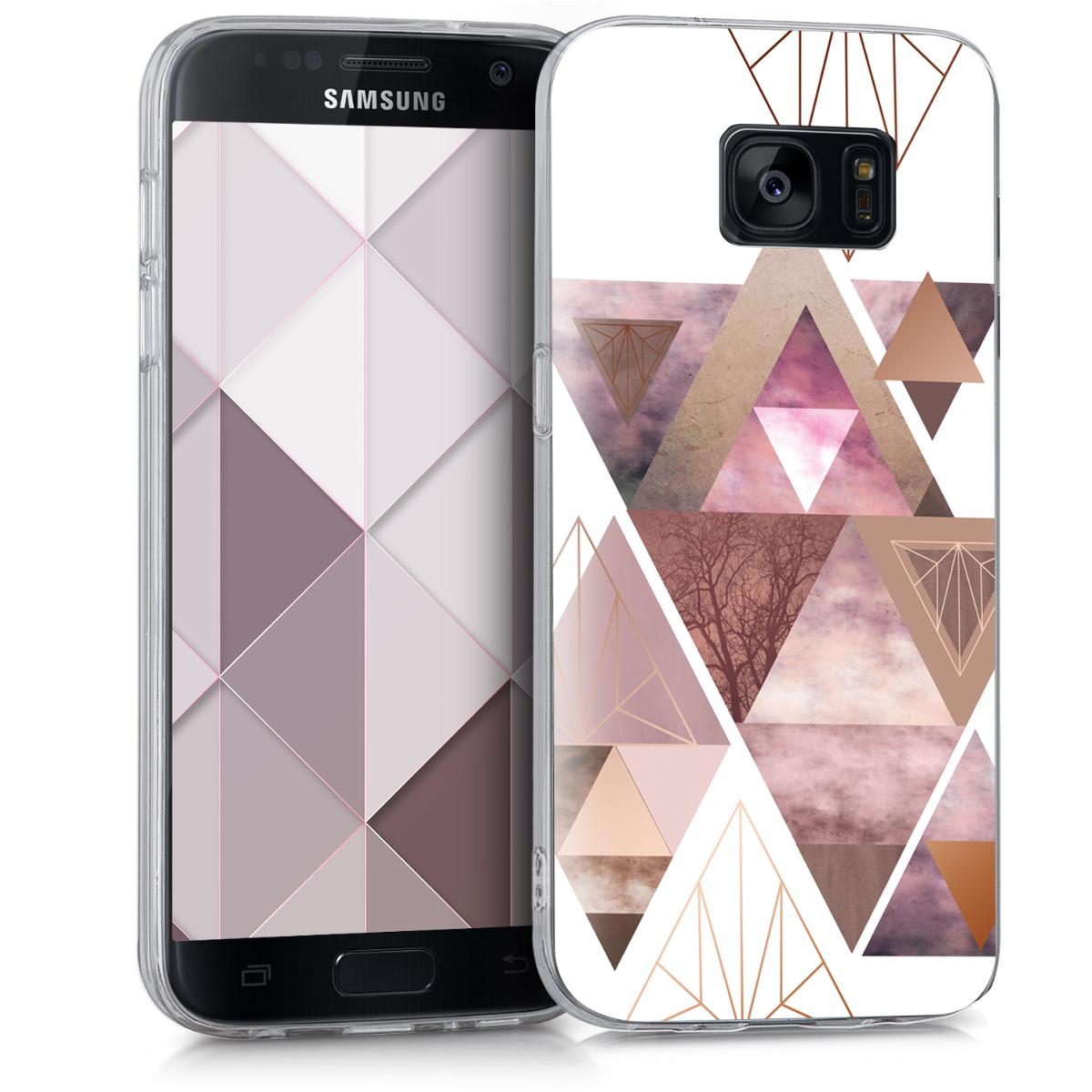 Kvalitní silikonové TPU pouzdro pro Samsung S7 - Patchwork trojúhelníky světle růžové / starorůžové rosegold / bílé
