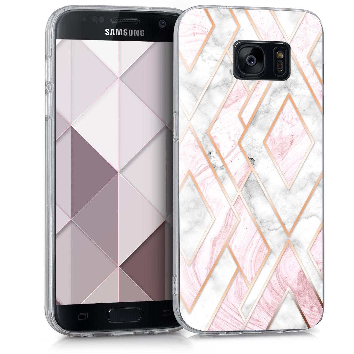 Kvalitní silikonové TPU pouzdro pro Samsung S7 - Glory Mix 2 starorůžové rosegold / bílé / růžové Dusty
