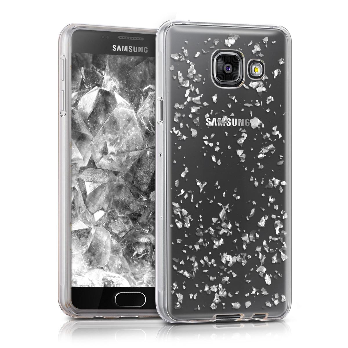 Kvalitní silikonové TPU pouzdro pro Samsung A3 (2016) - Vločky stříbrné / transparentní