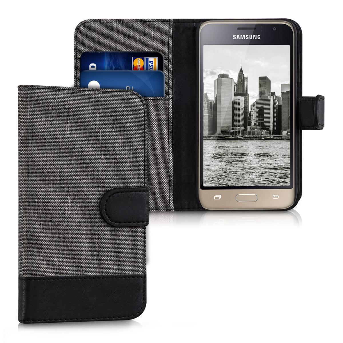 Fabricpouzdro pro Samsung J1 (2016) - šedé / černé