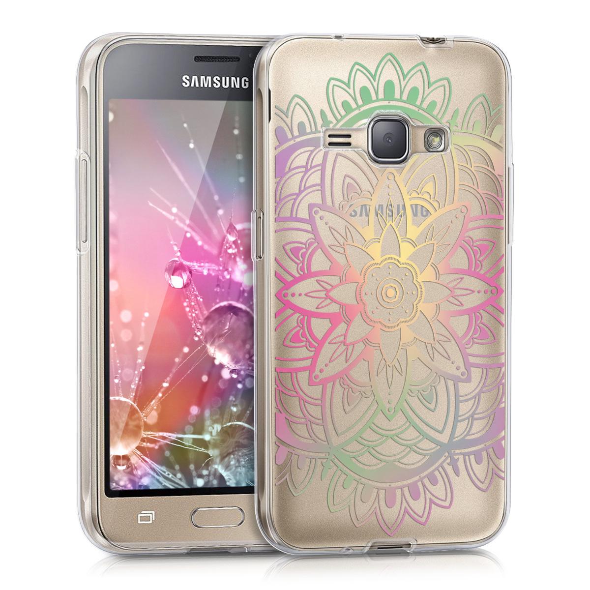 Kvalitní silikonové TPU pouzdro pro Samsung J1 (2016) - Sunkvětiny Multicolor / tmavě růžová / transparentní