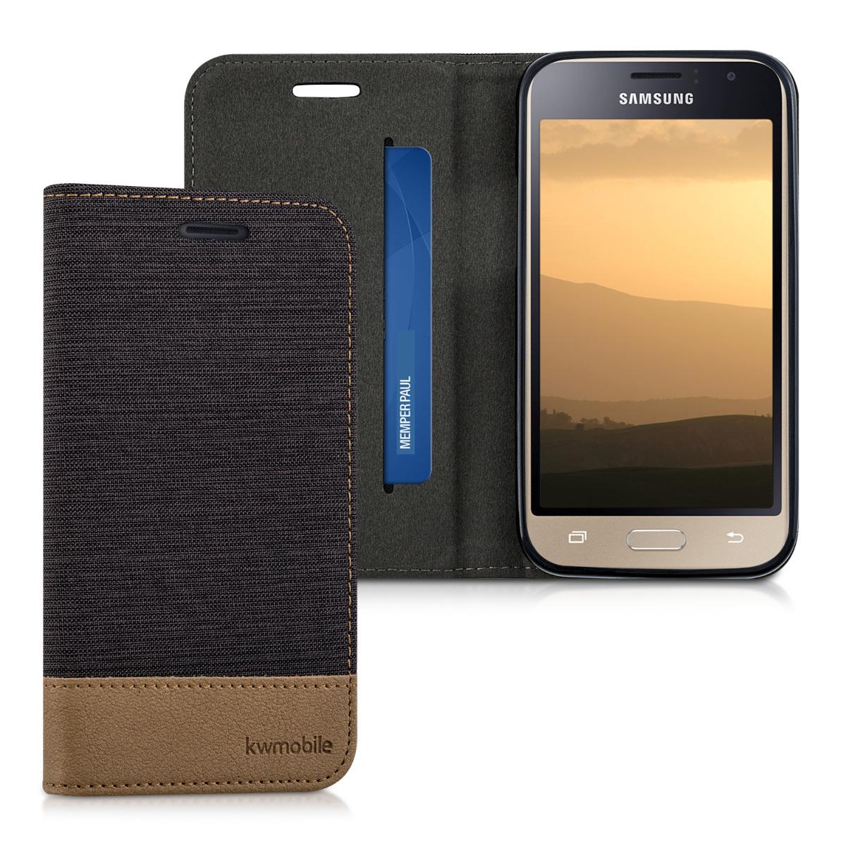 Fabricpouzdro pro Samsung J1 (2016) - Antracit / Brown