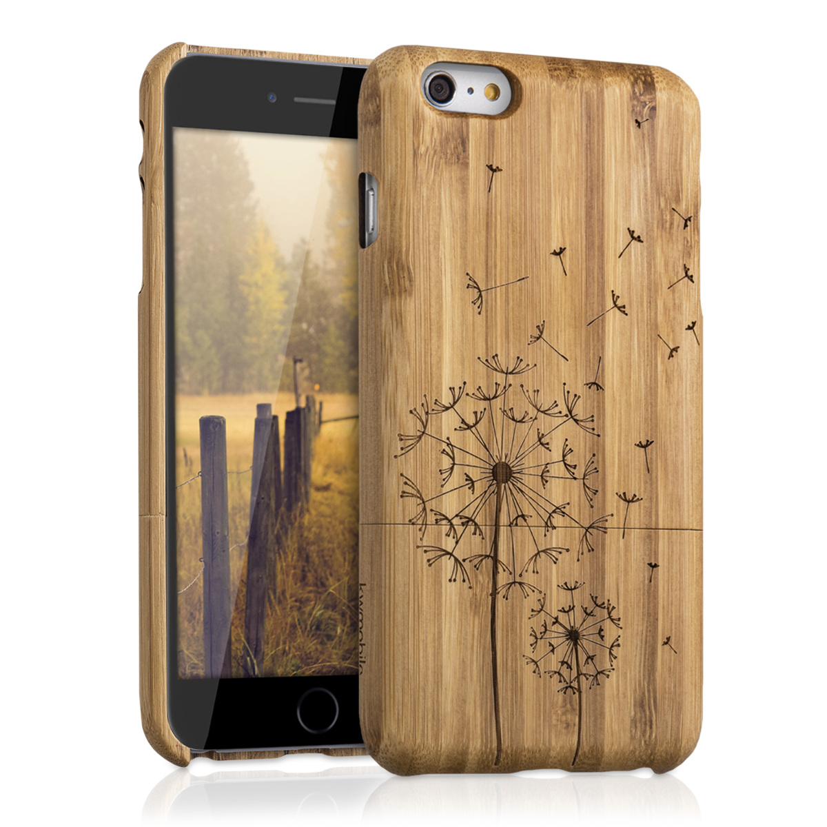 Bambusové pouzdro pro Apple iPhone 6 Plus / 6S - Pampelišky Světle hnědá