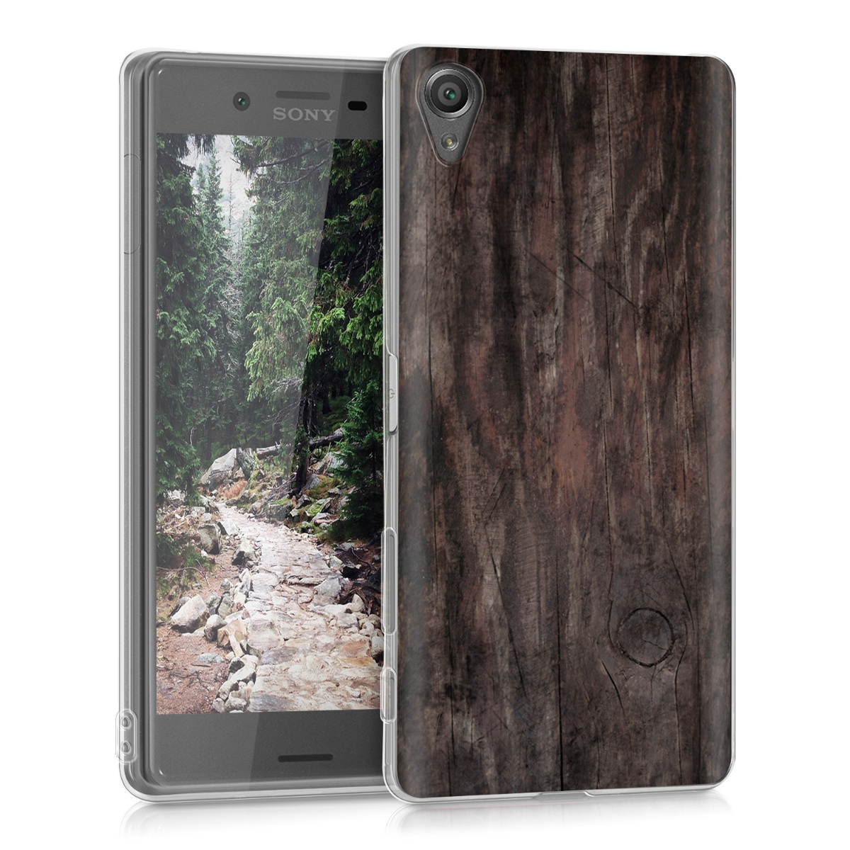 cover f r sony xperia x h lle vintage holz dunkelbraun silikon backcover ebay. Black Bedroom Furniture Sets. Home Design Ideas